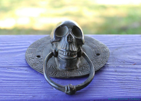 Vintage Gothic Skull Door Knocker Handle Verdigris Cast Bronze Balinese Art - Acadia World Traders