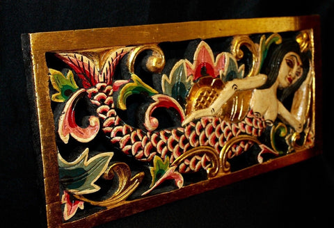 Balinese Peacock Dancers Relief Panel hand carved wood Bali wall art set of 2