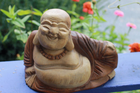 Hotei Laughing Buddha of Good Fortune Statue Carved Wood sculpture Bali Art - Acadia World Traders