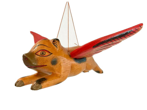 "FLYING Pig Mobile Winged Demon chaser Guardian Handmade carved wood Bali Art 5"" - Acadia World Traders"