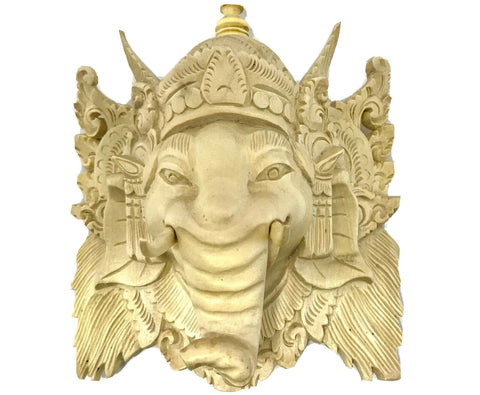 Balinese Ganesha Elephant Mask Hand Carved wood wall art