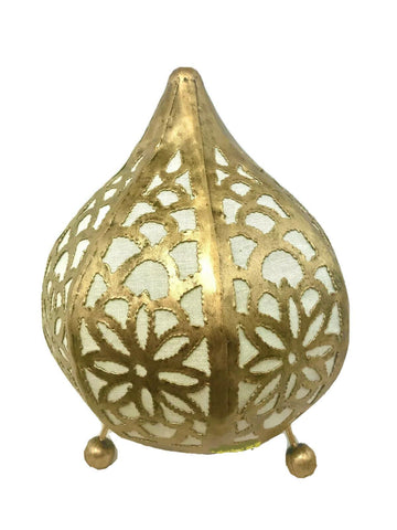 Bohemian Lotus Table Accent Teardrop Metal Lamp Moroccan Lantern Home Decor