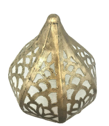 Bohemian Lotus Table Accent Teardrop Metal Lamp Moroccan Lantern Home Decor - Acadia World Traders