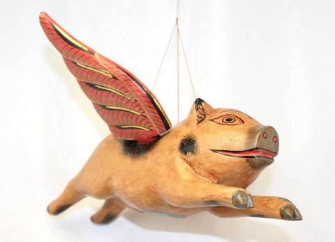 Balinese FLYING Pig Mobile Winged Crib Guardian Hand Carved Wood Bali Art 12""
