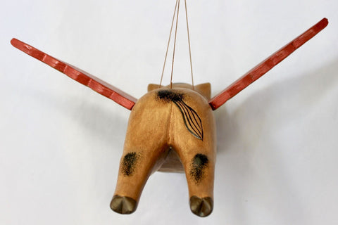 "Balinese FLYING Pig Mobile Winged Crib Guardian Hand Carved Wood Bali Art 12"" - Acadia World Traders"