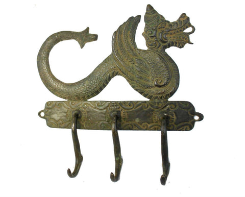 Dragon Naga Busuki Wall Hook hanger Cast Verdigris Solid Bronze Balinese Art