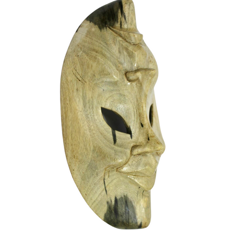 Balinese Mask Comedy Tragedy Wall art Natural Hibiscus hand carved wood