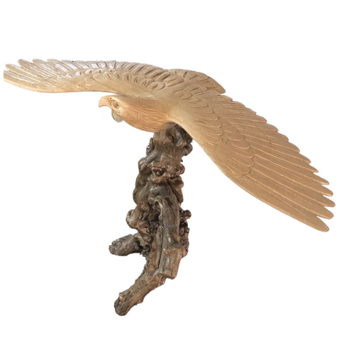 Eagle Hawk Wood Carving Sculpture Natural Root Base hand carved Bali Art