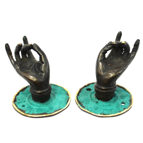 Vintage Buddha Mudra hands Bronze drawer pull knob hook handle Bali Art set 2