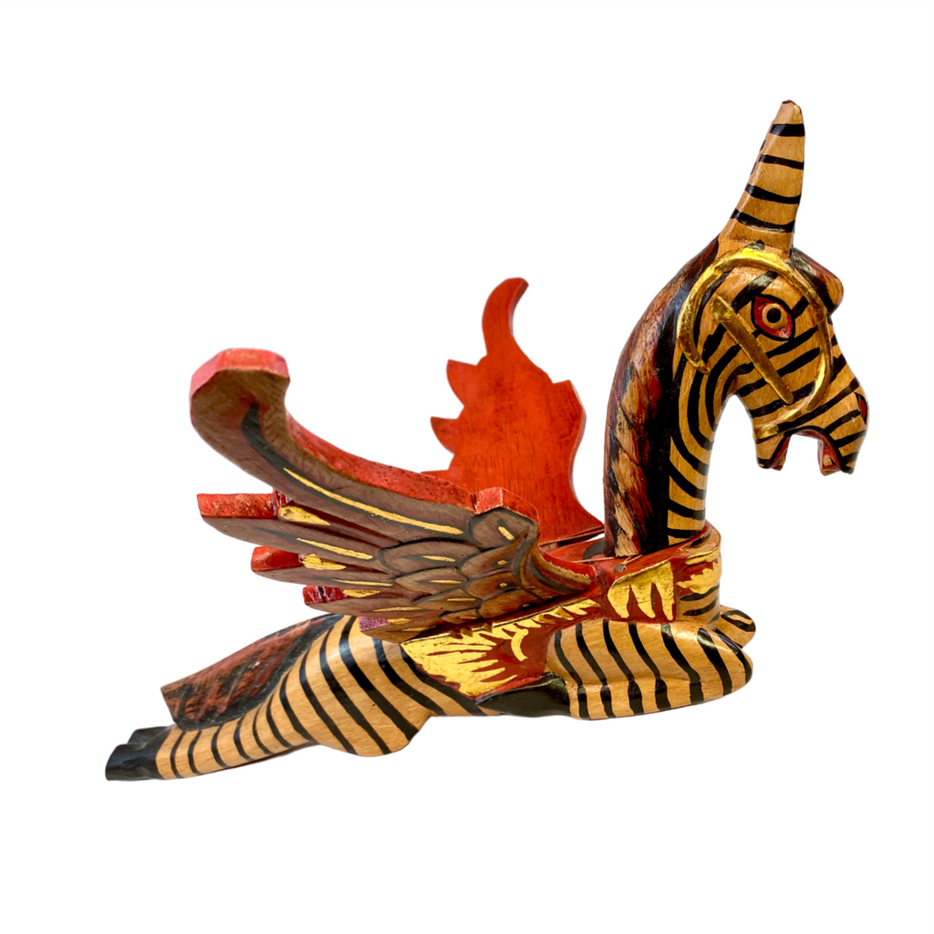 Winged Pegasus Zebra Horse hanging Mobile Demon Chaser Carved wood Bali Art