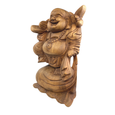 Laughing Traveling Buddha Statue Hand Carved Wood Hotei Good Luck Bali Art