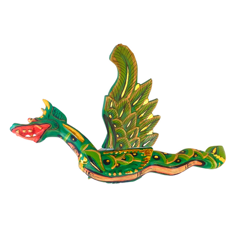 Flying Dragon Mobile demon chaser carved wood Balinese Folk Art Green