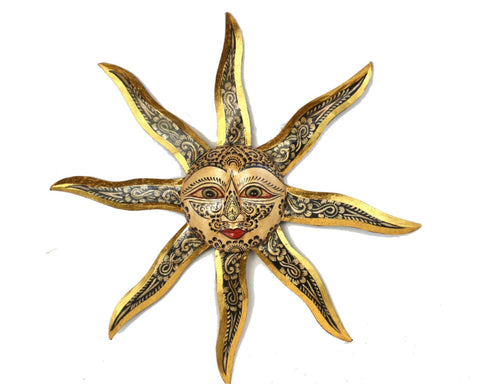 Tattoo SUN Surya Sunburst Mask Wall Art Plaque Celestial Bali