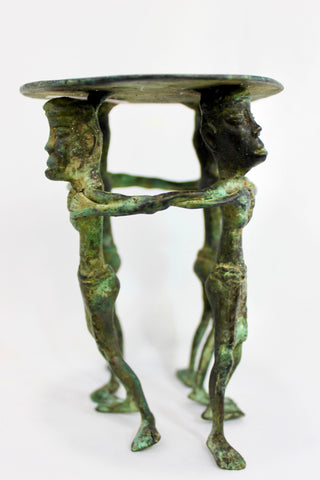 Pillar Candle stand holder Primitive Tribal Solid Bronze Sumatra Indonesian OOAK - Acadia World Traders