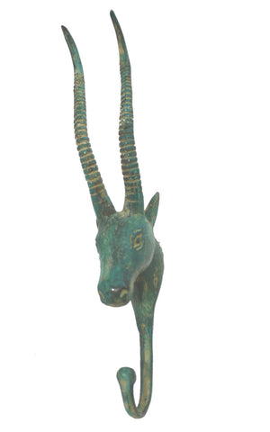 Bronze Antelope Impala wall hook peg coat rack hanger farmhouse decor Bali Art - Acadia World Traders