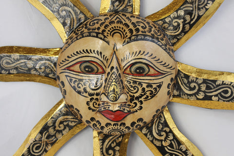 Tattoo SUN Surya Sunburst Mask Wall Art Plaque Celestial Bali - Acadia World Traders