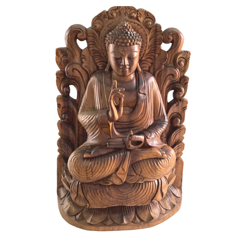 Teaching Buddha Sculpture Vitarka Mudra handmade Wood Carving Statue Bali Art