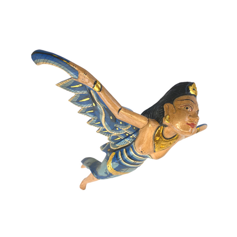 Balinese Flying Dewi Sri Goddess Demon Chaser Mobile Winged Carved Wood