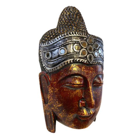 Red Buddha Wooden Wall Art Mask Hand Carved in Bali