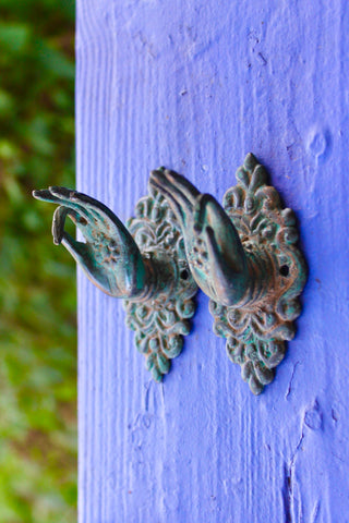 Buddha Abhaya Mudra Handle Knob Hook Verdigris Bronze - Acadia World Traders