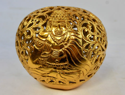 Meditating Buddha & Naga Hand Carved coconut shell Gilded Gold Balinese Folk Art