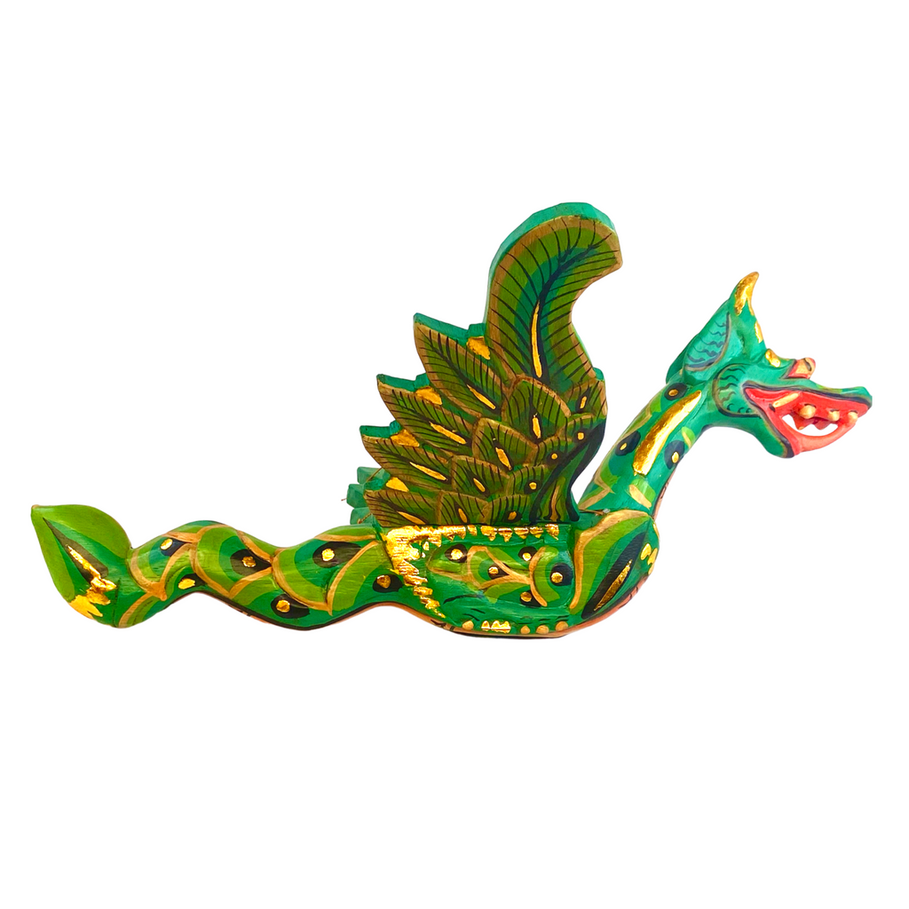 Flying Dragon Mobile Spiritchaser carved wood Balinese Folk Art Green