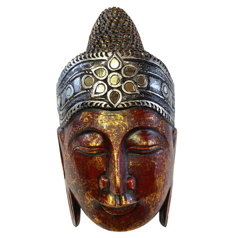 Sublime Buddha Mask Wall sculpture Balinese art Handmade Red