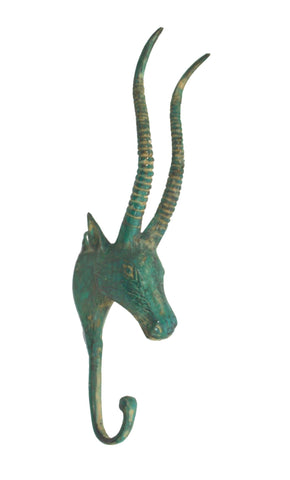 Bronze Antelope Impala wall hook peg coat rack hanger farmhouse decor Bali Art