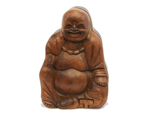 Laughing Fat Buddha secret puzzle Box Stash Trinket jewelry carved wood Bali art