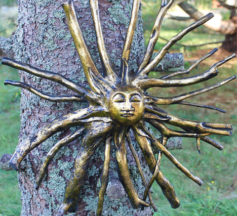 Golden Sun Burst God Surya Tree Root spirit Wall Art Carving
