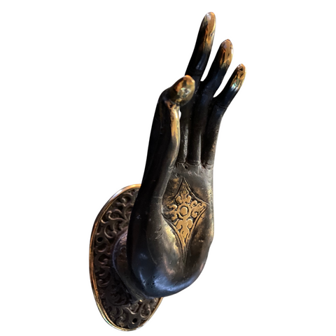Buddha Abhaya Mudra Handle door pull Knob Hook Chocolate Bronze Balinese Art Set