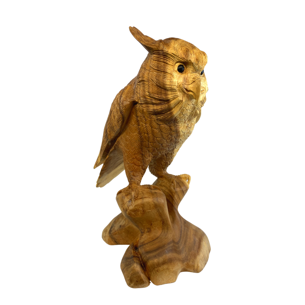 Perched Owl Wood Carving Sculpture