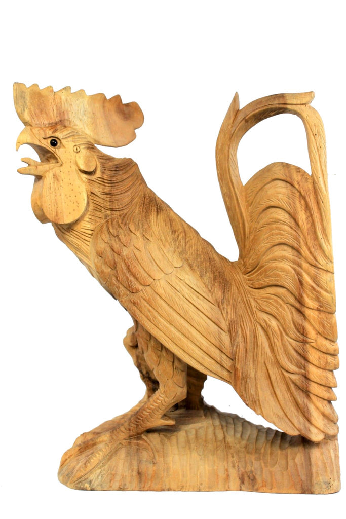 Rooster Chicken Cock Fowl sculpture hand carved wood carving Statue Balinese Art