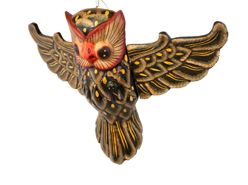Balinese Flying Horned Owl Mobile Spiritchaser Demon Chaser carved wood Bali Art - Acadia World Traders