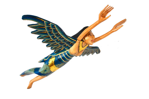 "Flying Winged Dewi Sri Rice Goddess Mobile Spiritchaser Carved Wood Bali art Teal 21"" - Acadia World Traders"