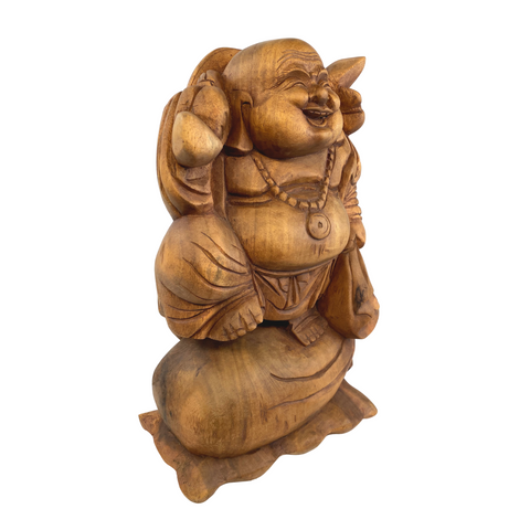 Traveling Hotei Laughing Buddha of Good Fortune Statue Wood Carving