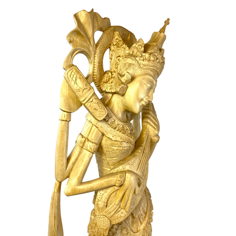 Saraswati Statue Wood Carving Hindu Goddess of Art Culture Balinese Sculpture
