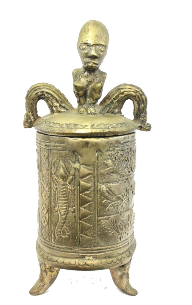 "Primitive Betel Nut Lime Container Solid Bronze Sumatra Indonesian 10"" - Acadia World Traders"