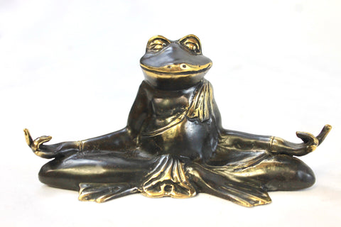 Meditating Yoga Frog statue Sculpture Zen Buddha cast Bronze Bali Art