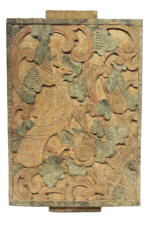 Vintage Peacock Bird carved wood architectural House Panel Bali Indonesia set 2