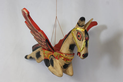 Winged Pegasus Flying Horse Mobile Crib Guardian Hand Carved wood Bali Art - Acadia World Traders