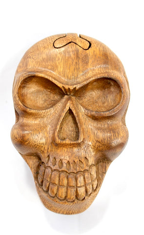 Skull Skeleton Secret Puzzle Trinket Box Hand Carved Wood handmade Bali art - Acadia World Traders