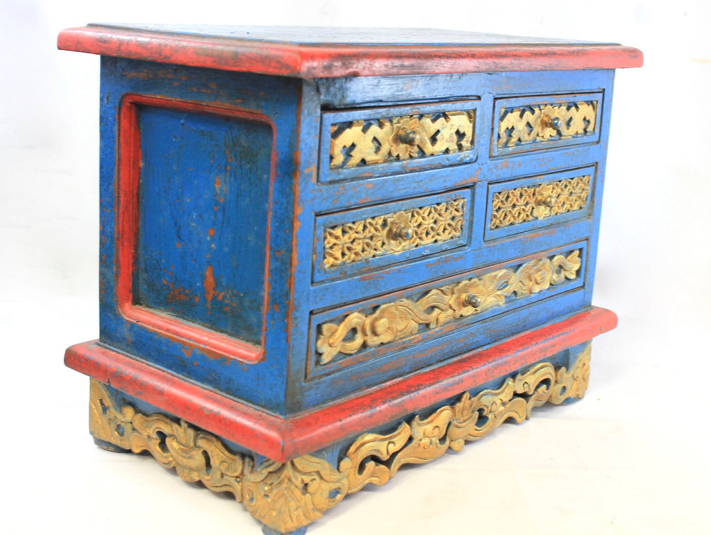 Antique Altar Chest Chinese Indonesian Peranakans Hand Carved Gilded Mahogany
