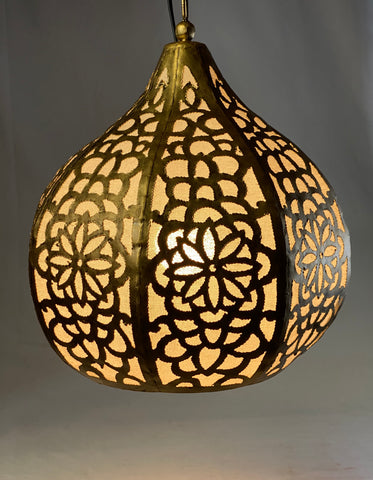 Bohemian Lotus Swag Lamp Hanging Teardrop Moroccan Lantern Home Decor Gold