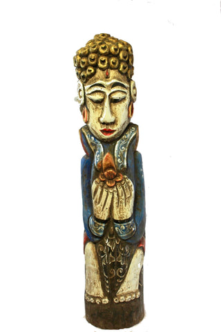 Balinese Buddha Guardian statue Polychrome wood carving sculpture Bali Folk Art