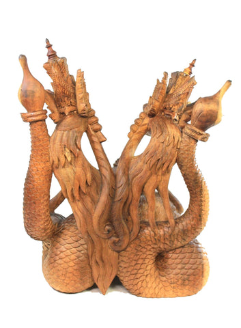 Twin Dragon Cosmic Naga Statue Hand Carved Suar Wood Sculpture Balinese Art