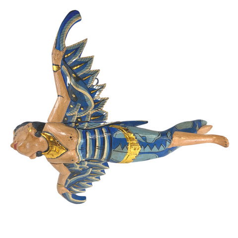 Balinese Flying Dewi Sri Goddess Crib Angel Mobile Winged Carved Wood