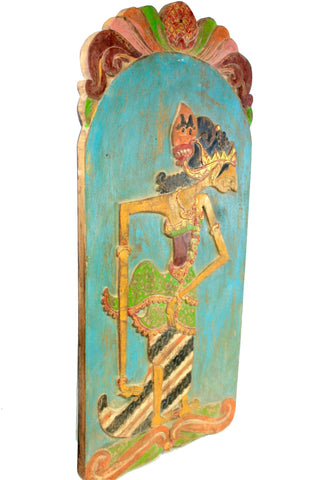 Old Wayang Panel Shadow Puppet Carved Polychrome Wood Wall Art Java Indonesian