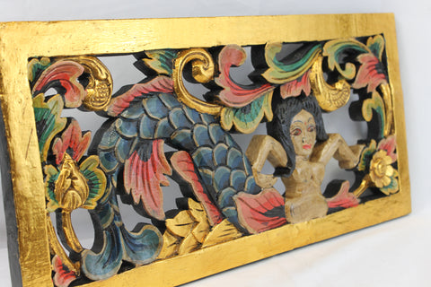 Balinese Mermaid Goddess Panel Hand Carved Wood Architectural art