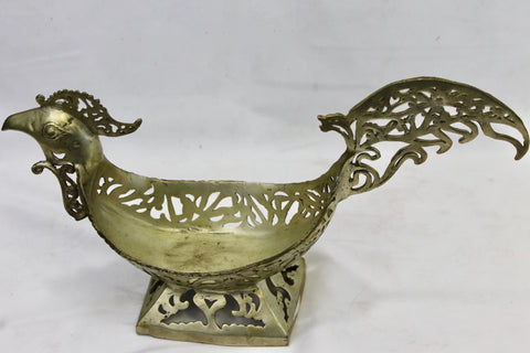 Tribal Rooster Bronze decorative Bowl Vessel Indonesian Folk art - Acadia World Traders